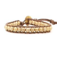 Gold Bead Single Wrap Bracelet on Natural Brown Leather - Chan Luu
