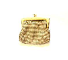 CREAM METAL GLOMESH Coin purse 1950s 60s Mesh Genuine Glo mesh Disco Chic HB0020 by LibertyCrush on Etsy