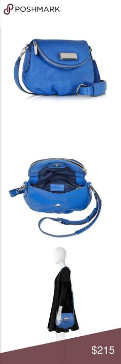 Marc Jacobs New Q Mini Natasha CrossBody Bag Beautiful Blue! Adds awesome pop of color to any outfit. Adjustable/removable shoulder strap. Zipped flat front with magnetic closure gives double storage space. Interior small zip wall pocket. 100% soft pebbled Leather Exterior. Silver Details. 26x6x21 cm. Comes with logo duster bag. Gently Used. Excellent Condition. Marc by Marc Jacobs Bags Crossbody Bags