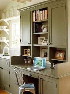 Small home office in the kitchen work station. Home office # 1 Kitchen Desks, Kitchen Office, Kitchen Redo, Home Office, Kitchen Remodel, Small Office, Kitchen Work Station, Outdoor Kitchen Countertops, Kitchen Counters