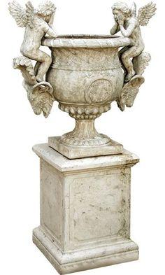 Roman Stone Effect Rams Head / Cherubs Urn