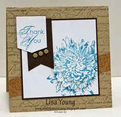 Bloomin Kindness flower stamped 3X, then punch with 2 sizes of scallop punches then layer with dimensionals, by Lisa Young