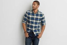 AEO Oxford Plaid Button Down Shirt  by  American Eagle Outfitters   The Oxford…