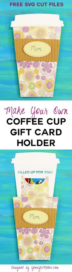 Take-Out Coffee Cup Gift Card Holder Papercraft Cricut Gift Card Handmade Card Starbucks Gift Card Holder Birthday Scrapbook, Birthday Cards, Create A Gift Certificate, Diy Paper, Paper Crafts, Free Svg, Make Your Own Coffee, Starbucks Gift Card, Starbucks Crafts