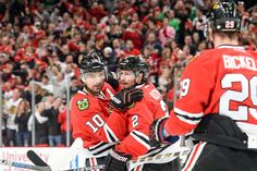 NHL.com - Photos Photo 20 of 111 - Nashville Predators vs. Chicago Blackhawks - Game Six CHICAGO, IL - APRIL 25: Patrick Sharp #10 of the Chicago Blackhawks hugs Duncan Keith #2 after scoring against the Nashville Predators in the first period in Game Six of the Western Conference Quarterfinals during the 2015 NHL Stanley Cup Playoffs at the United Center on April 25, 2015 in Chicago, Illinois. (Photo by Bill Smith/NHLI via Getty Images)