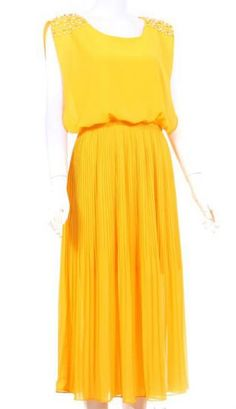 #SheInside Yellow Sleeveless Bead Shoulder Pleated Chiffon Dress - Sheinside.com