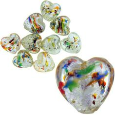 Pugster Clear Multi Colored 15x15mm Heart Silver Foil Murano Glass Bracelet Loose Beads Pugster. $7.99. Shape: Heart. Metal: Silver Foil. Size (mm): 15x15mm. Color: Clear, Multi Color, Silver. Note: Every Piece Of Hand-Made Glass Is Slightly Different In Pattern And Shape.