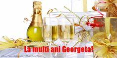 La mulți ani Georgeta! - Felicitari de la multi ani pentru Georgeta - mesajeurarifelicitari.com Nicu, Happy Birthday, Drinks, Bottle, Tableware, Beautiful, Sf, Twitter, Amazing