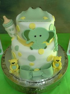 Green and Yellow Baby Shower for Twins