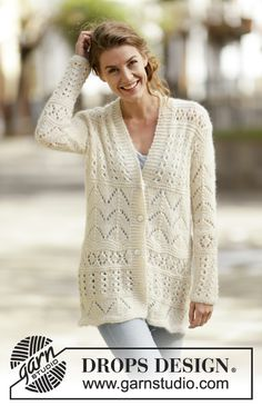 "#DROPSDesign jacket with #lace pattern in ""Air"". #FreePattern available on our website"