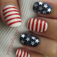 American Patriotic nail design, Memorial day, 4th of July or Labor Day