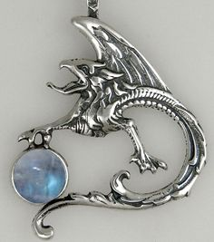 Sterling Silver Griffin Dragon Pendant