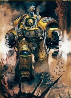 Space Marine of the Imperial Fists' Company wearing Centurion Armour. Warhammer 40k Memes, Warhammer Art, Warhammer 40000, Warhammer Fantasy, Space Marine, Martial, Imperial Fist, Religious Paintings, Starcraft