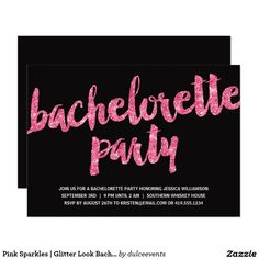 Pink Sparkles | Glitter Look Bachelorette Party Card