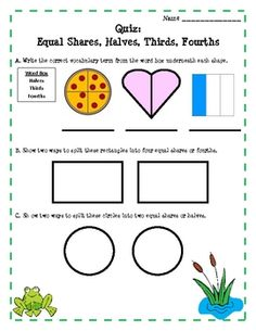 "Here's a ""Fun with Frogs and Fractions"" unit that focuses on halves, thirds, and fourths."