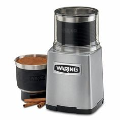 Waring The 3-cup capacity wet/dry power grinder is perfect for peppercorns, cinnamon, nuts, garlic, herbs, and other dry and wet blends. Includes two fully removable and dishwasher-safe, stainless steel grinding bowls with convenient storage lids. The sealed clear-view operating lid allows for liquid processing up to 1.5 cups to make pastes, dressings, sauces, creams, and more. Dark Home Decor, Spice Grinder, Catering Equipment, Americas Test Kitchen, Le Moulin, House Made, Wet And Dry, Cinnamon Sticks, Stainless Steel