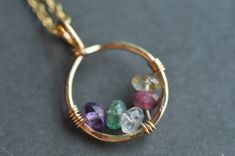 Grandmothers / Mothers birthstone necklace CIRCLE OF door muyinmolly. , via Etsy.
