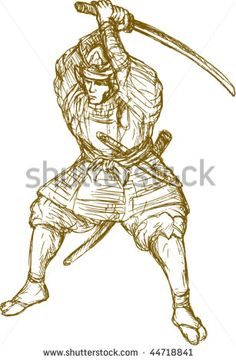 vector hand drawn sketch illustration of a samurai warrior with sword in fighting stance #samuraiwarrior #sketch #illustration