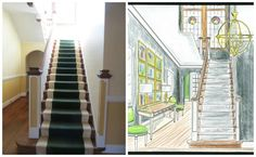 Before & Rendering - Hallway & Staircase by Jennifer Hutton & Mickey Sharpe Jennifer Hutton for the Home & Mickey Sharpe Design - jlhpshowhouse