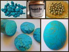Artificial TURQUOISE Polymer clay is formed into small beads and mixed with acrylic paint. The beads are then compressed into a ball or cylinder shape. Once cured the piece can then be cut, sanded, polished and drilled.