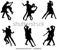A cartoon silhouette illustration drawing icon set of dancing couple sport for both man and woman in various action and dancer fashion clothing, create by vector