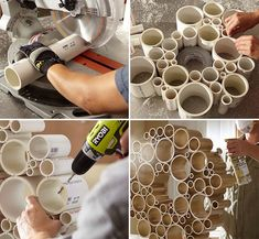 🎉🎉DIY: PVC Tubes Wreath🎉🎉What you need:  Tools: Mitre saw Drill  Supplies/Ingredients:  6 different diameters of PVC pipe Glue 2 feet of chain 2 drawer knobs Spray paintDecorate and enjoy!!!  Pls like 👍👍👍👍