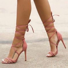 Pink Strappy Heels, Strappy Sandals Heels, Lace Up Heels, High Heels Stilettos, Stiletto Heels, Shoes Heels, Heels Outfits, Flat Shoes, Sneakers