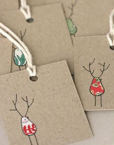 old fabric scraps + a ball point pen makes great xmas gift tags