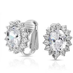 Bling Jewelry Bling Jewelry Bridal Stud Oval Cz Clip On Earrings Crown... ($21) ❤ liked on Polyvore featuring jewelry, earrings, clear, cubic zirconia earrings, clip on stud earrings, stud earrings, crown earrings and bridal earrings