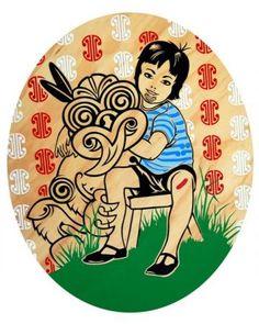 Boy and Friendy, by Shane Hansen Maori Designs, Tiki Art, New Zealand Art, Nz Art, Maori Art, Kiwiana, Goddess Art, Types Of Art, Art Logo