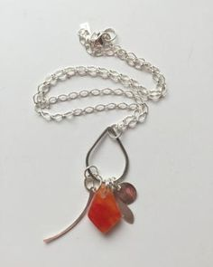 grayc glass | Handmade in California- $78.00.  Coral necklace, charm necklace, sterling silver.