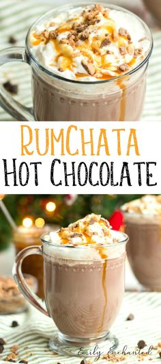 Slow Cooker Caramel Hot Chocolate with Rumchata, Hot Chocolate Recipe | #hotchocolate #rumchata #hotcocoa #chocolate #caramel