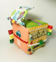 Fabric activity cube, soft developing block, baby soft sensory toy, sensory toy, for boys by Agutik on Etsy https://www.etsy.com/listing/215835967/fabric-activity-cube-soft-developing