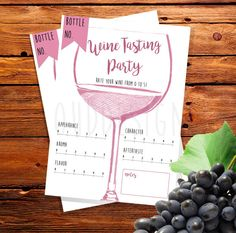 Wine Tasting Party // Party Kit // Printable // by CloudDesigner Wine Tasting Card, Wine Tasting Events, Beer Tasting Parties, Party Kit, Party Party, Wine And Cheese Party, Wine Cheese, Wine Wednesday, Pinot Noir