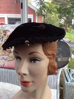 Vintage 1940s 1950s Hat Black Velvet Rhinestones By Linda Farrell New York Comes With Original Hat Pin by TimelessTreasuresVCB on Etsy