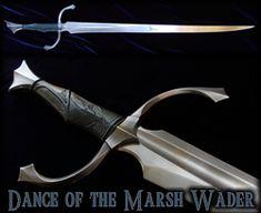 Dance of the Marsh Wader- Custom Heron Sword by Fable Blades Fantasy Blade, Fantasy Sword, Fantasy Weapons, Fantasy Art, Cool Knives, Knives And Swords, Cool Swords, Medieval Weapons, Steampunk Weapons