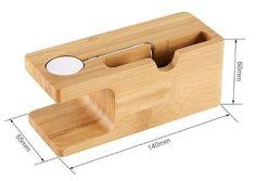 stand soporte dock carga apple watch & iphone madera bamboo
