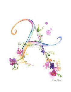 Letter A - Watercolor Monogram - Flower Lettering - Watercolor Letter Print - Watercolor Initial