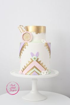 Boho Birthday Party Sugar Cookies, Cake, Cupcakes, Cake Pops And Chocolate Covered Oreos TheIcedSugarCookie.com Just Add Sugar