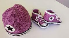 """Tricots Bébé : basket violette et chapeau à l'étoile modèle """"hip-hop"""" 6 mois"""