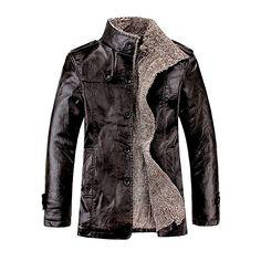 Herren Winter Leder Mantel Duffle-Mantel in 3/4 Laenge mit Schulterklappe peacoat(50,Brown)