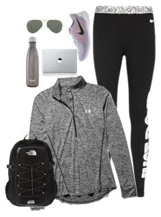 swoosh by kadynpleasants on Polyvore featuring Under Armour, NIKE, The North Face, Vinyl Revolution, Ray-Ban and S'well