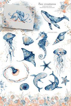 Watercolor Ocean, Watercolor Drawing, Watercolor Illustration, Watercolor Paintings Of Animals, Underwater Drawing, Ocean Drawing, Ocean Underwater, Underwater Tattoo, Sea Creatures Drawing