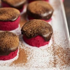 How to make homemade BEET 'pink' fudge bites with chocolate sauce! Low in sugar, vegan, grain-free! Making a perfect healthy dessert.