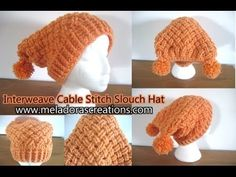 Meladoras Creation Interweave Cable Stitch Slouch Hat - Free Crochet Pattern JUST  WANT FRONT BAND PATTERN