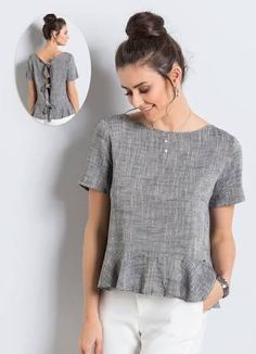 Blusa de Linho com Babado Azul Colcci - Colcci Blouse Styles, Blouse Designs, Diy Clothes, Clothes For Women, Diy Vetement, Casual Outfits, Fashion Outfits, Linen Blouse, Short Tops