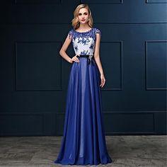 Formal Evening Dress - Royal Blue Plus Sizes Sheath/Column Bateau Floor-length Satin Chiffon – USD $ 79.99