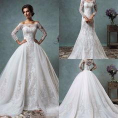 Vintage 2017 Amelia Sposa Lace Wedding Dresses with Detachable Skirt Cheap Modest Sheer Long Sleeve Appliques Bridal Gowns