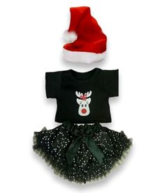 a544b5f289ad Teddy Bear Clothes, fit Build a Bear, Girls Christmas Tutu Outfit & Santa  Hat