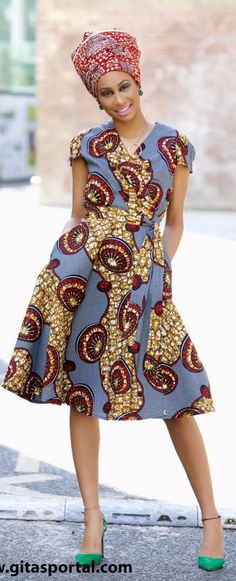 NEW IN - Queen African print wrap dress by GITAS Portal. The easy to wear wrap dress is flattering on any shape and size. Has side pockets. African fashion, Ankara, kitenge, African women dresses, African prints, African men's fashion, Nigerian style, Ghanaian fashion, fashion blogger (affiliate)